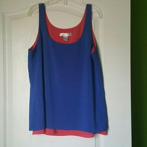 Blue and pink color block tank
